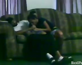 Teenie black Gf giving head on the couch